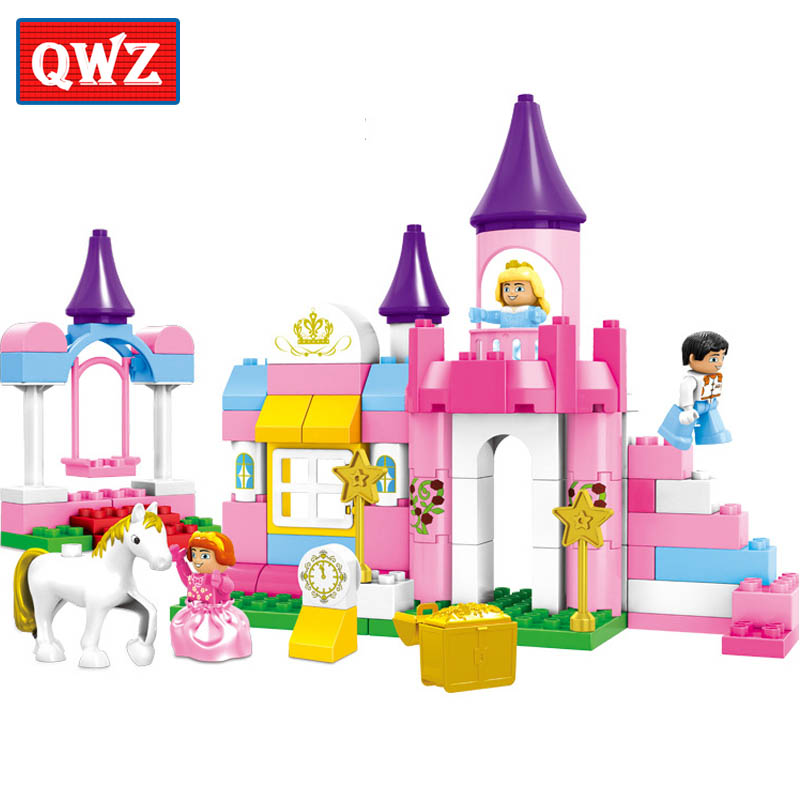 QWZ 86pcs Girl's Pink Dream Princess Castle Model Large Particles Building Blocks Bricks Kids DIY Toy Compatible With Duplo qwz 39 65pcs farm animals paradise model car large particles building blocks large size diy bricks toys compatible with duplo