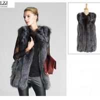 LZJ High Quality Fur Vest Coat Luxury Faux Fox Warm Women Coat Vests Winter Fashion Furs
