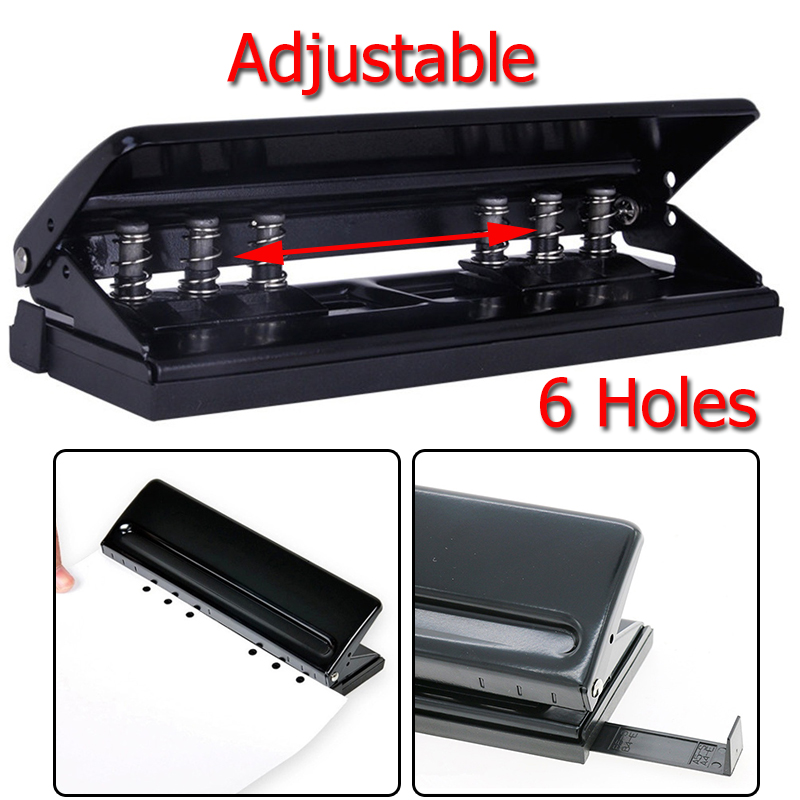 KICUTE Adjustable DIY 6-Holes Paper Puncher Piercing Machine Loose-leaf Diaries Organizers Paper Punch Stapler Office Supplies