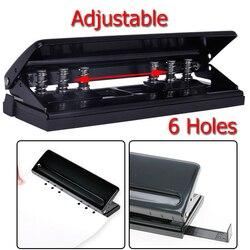 KICUTE Adjustable DIY 6-Holes Paper Puncher Piercing Machine Loose-leaf Diaries Organizers Paper Punch Stapler Office Supplies