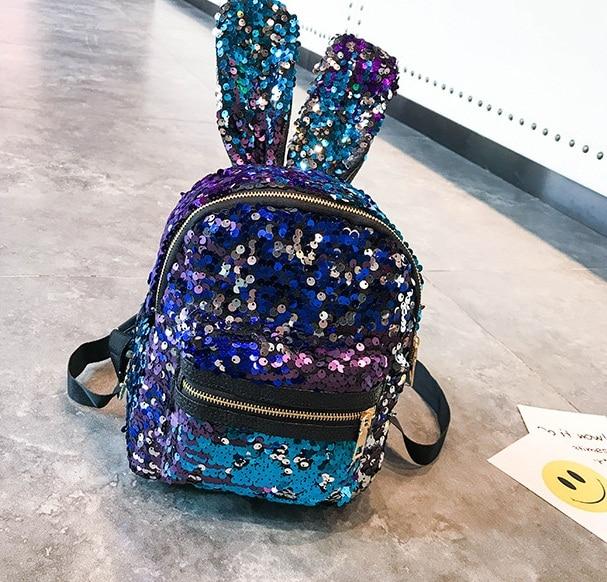 Backpacks Mini Sequins Backpack Cute Angel Wings Shoulder Bag For Women Girls Travel Bag Bling Shiny Backpack Mochila Feminina Escolar New
