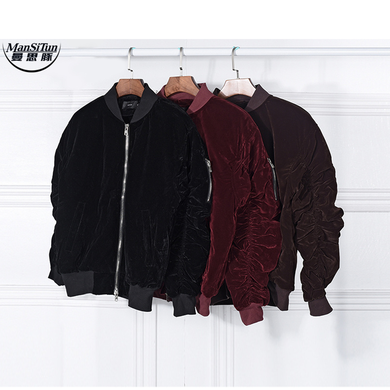 Man Si Tun 2017 fashion Kanye West Oversized Jackets Vintage Wine Red Velvet Fabric Pleated Sleeve