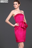 Strapless Sheath Red Satin Sash Formal Wedding Party Dress Bridesmaid Dress