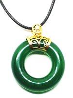 ירקן ירוק טבעי אבני חן העגול 14 K זהב תליוני שרשרת ארוך