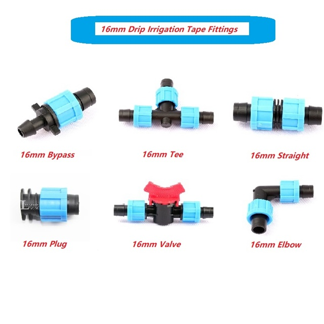 2pcs 16mm Micro Irrigation Patch Drip Tape Connectors Thread Locked More Fixed Joint Garden Drip Irrigation System Fittings