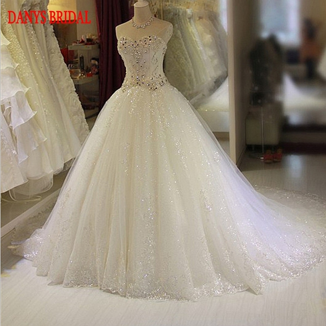 Luxury Wedding Dresses Ball Gown Crystal Beaded Sweetheart Tulle Chinese Weeding Bridal Bride