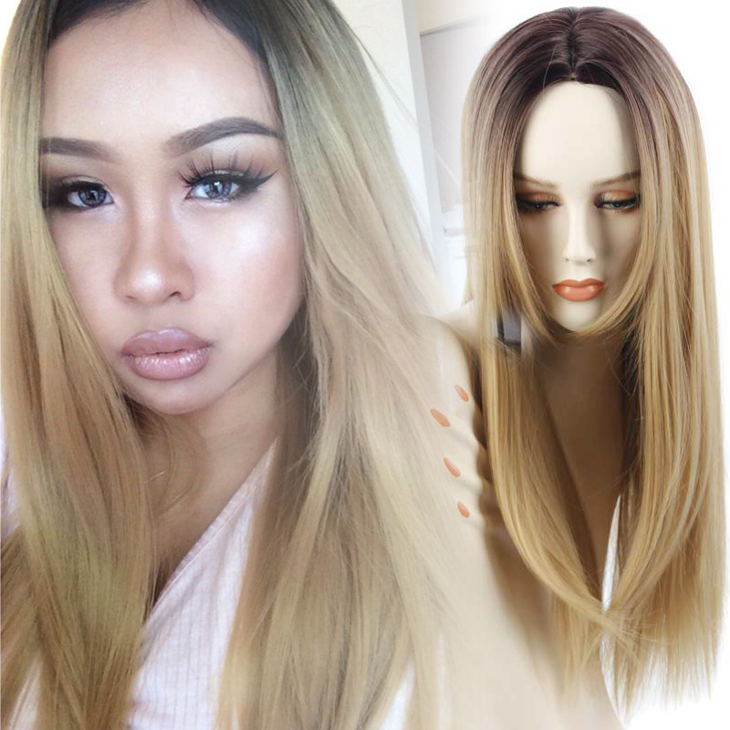 Blonde Ombre Wig Heat Resistant Synthetic Wigs Long Straight Dark Roots Cheap African American