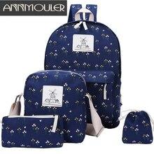 Annmouler дизайнер Обувь для девочек студент мешок школы моды скидка Для женщин рюкзак Набор 4 шт. Повседневное рюкзак холст рюкзак сумка для ноутбука