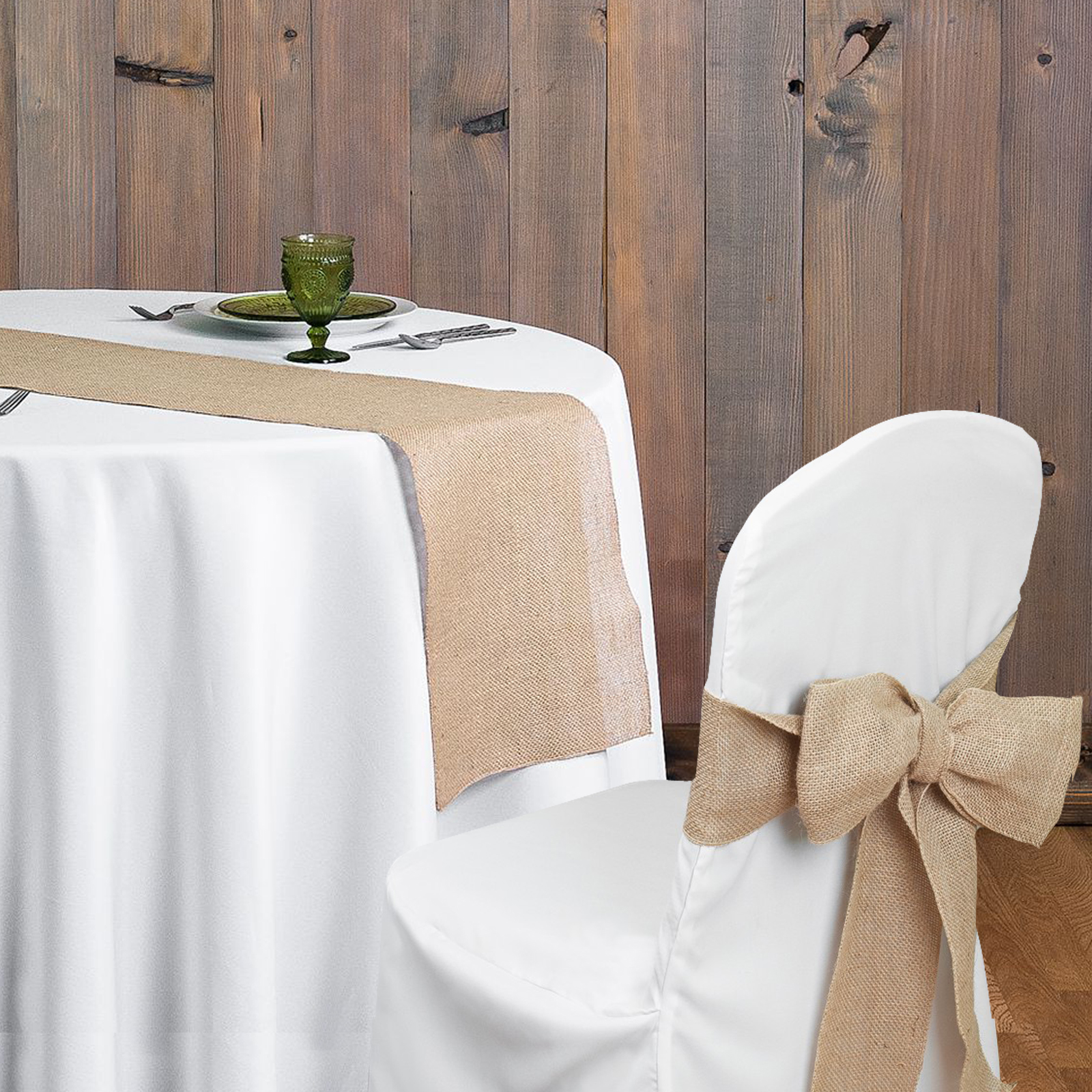 Rustic theme Wedding Decoration supply contain Burlap Chair Sashes jute Tie Bow burlap table runner Burlap Lace Tableware Pouch