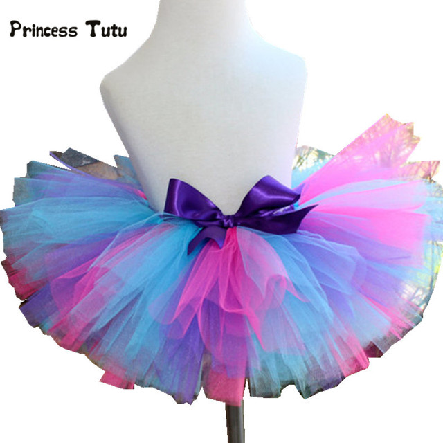 d0535be0a1 Handmade Princess Tutu Skirt Girl Kids Rainbow Tutu Baby Tulle Skirt  Birthday Party Dance Tutus Pettiskirts Fluffy Girls Skirts
