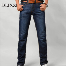 DLIXZI Brand 2017 Men Slim Fit Jeans Blue Straight Denim Male Trousers Classic Warm Jeans Mid Weight Fabric Jeans Long Pants(China)