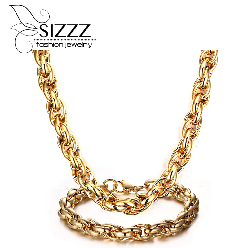 SIZZZ 2017 Titanium steel twist bracelet&necklace rough section decorated with jewelry set for men