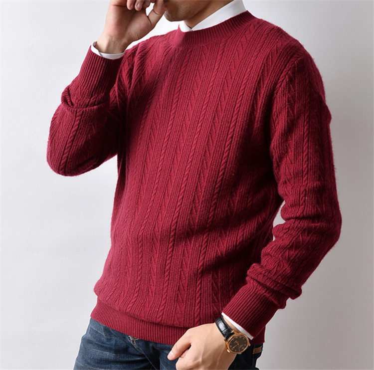 100%cashmere Dark Striped Twisted Knit Men Oneck Solid H-straight Pullover Sweater 6color S-2XL Retail Wholesale
