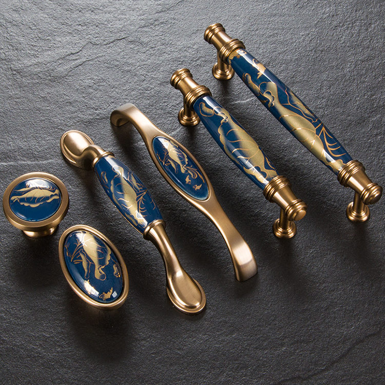 Ceramic Kitchen Cabinet Handles Drawer Pull Knobs Antique: Navy Blue/Ceramic Door Handles European Antique Furniture