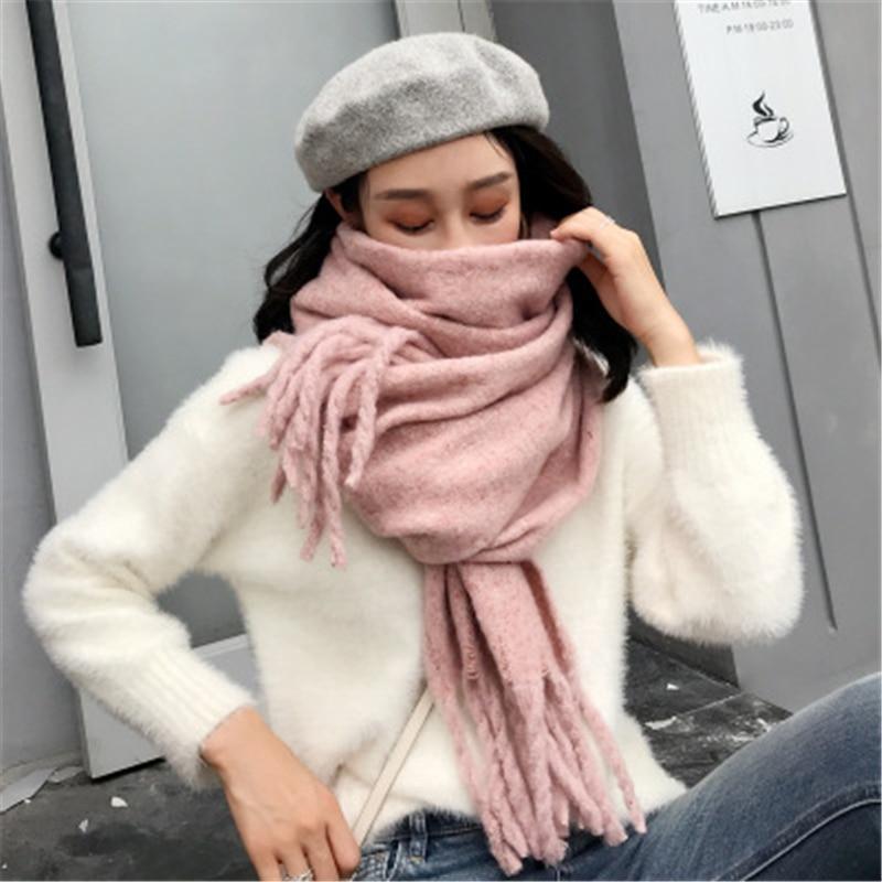 Floral Design Soild Thick Warm Winter Women Scarf  Cashmere Wrap Shawls Tippet Female Foulard Tassel Blanket Pashmina Elegant