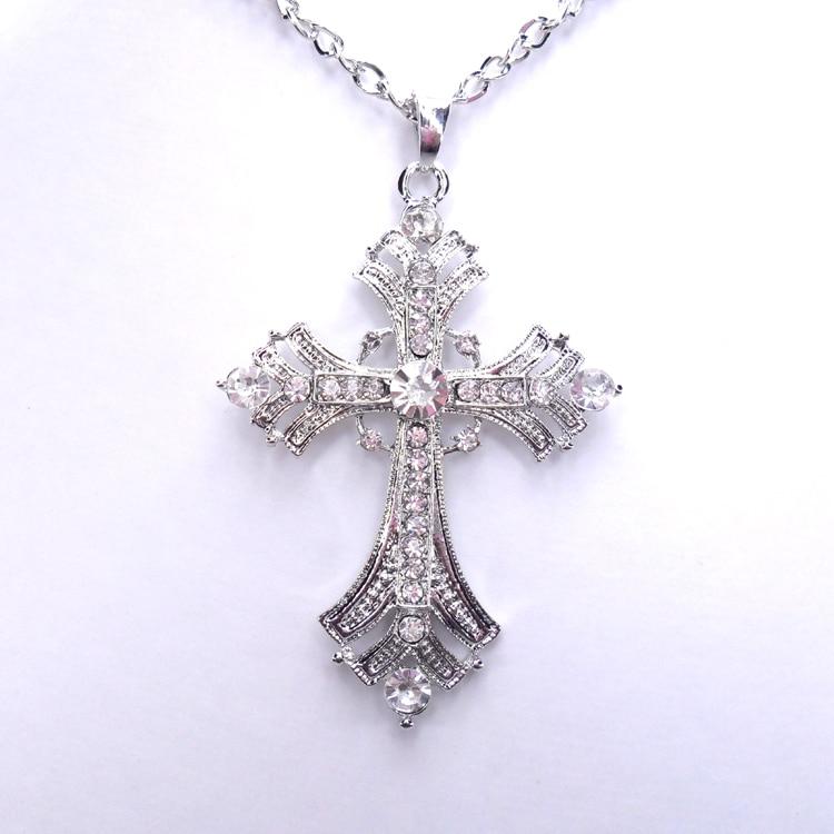 251c91a536377 Livraison gratuite croix bijoux pour femmes or argent plaqué pendentif  collier avec chaîne colliers et pendentifs dans Pendentif Colliers de Bijoux  et ...