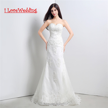 iLoveWedding Saham New White / Gading A-Line Wedding Dresses Lace Up Kembali Wanita Cloze Gown Pengantin formal Vestidos de novia 23106