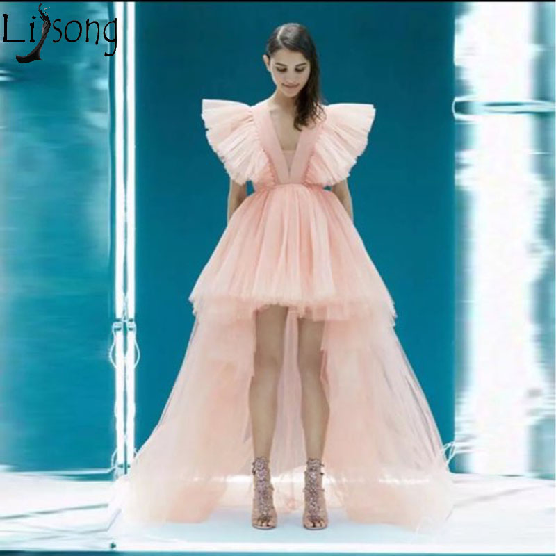 2019 New Hi Low   Prom     Dresses   Deep V Neck Asymmetrical Special Occasion Gowns Hot Sale Peach Pink Tulle Long Evening   Dress   Custom
