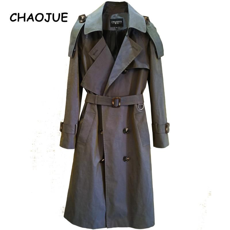 CHAOJUE 2018 printemps/automne femmes dernier changement de couleur Trench manteau Europe mode dame bureau Long manteau Trench femme pardessus