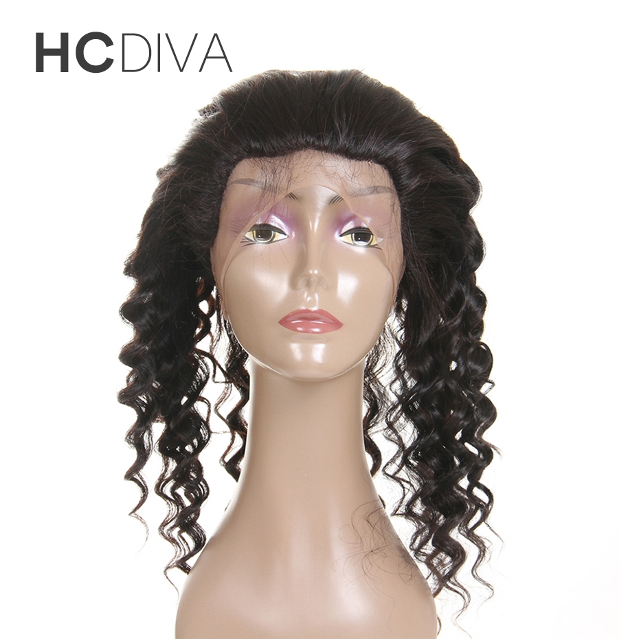 100% Brazilian Hair Deep Wave 360 Lace Front Closure With Baby Hair 8″ to 18″ Non Remy Human Hair Frontal Natural Black