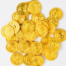 50Pcs Plastic Gold Coin Toys for Children Kids Party Toys For Halloween Cosplay Props Treasure Coins Boys Interactive Games(China)