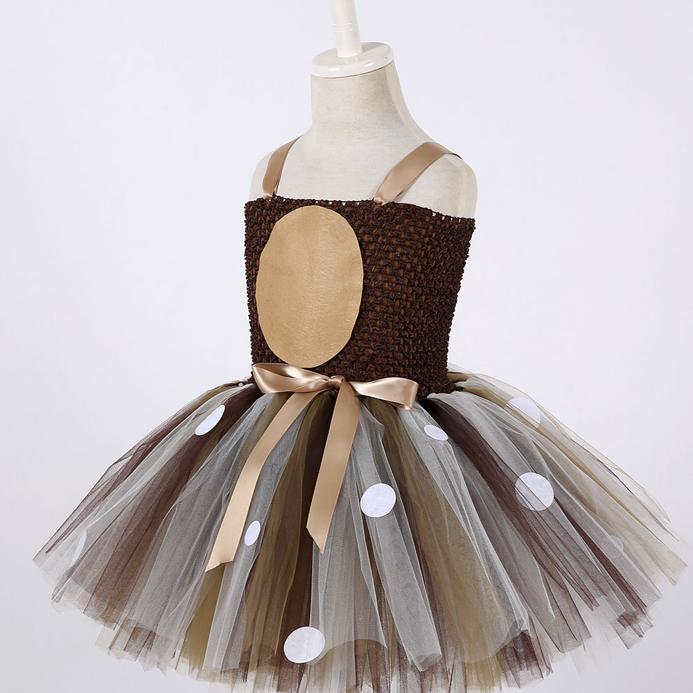 Girls Reindeer Dress Up Costumes Children O-neck Pattern Solid Dress Christmas Birthday Party Kids Dresses for Girls Ball Gown (5)