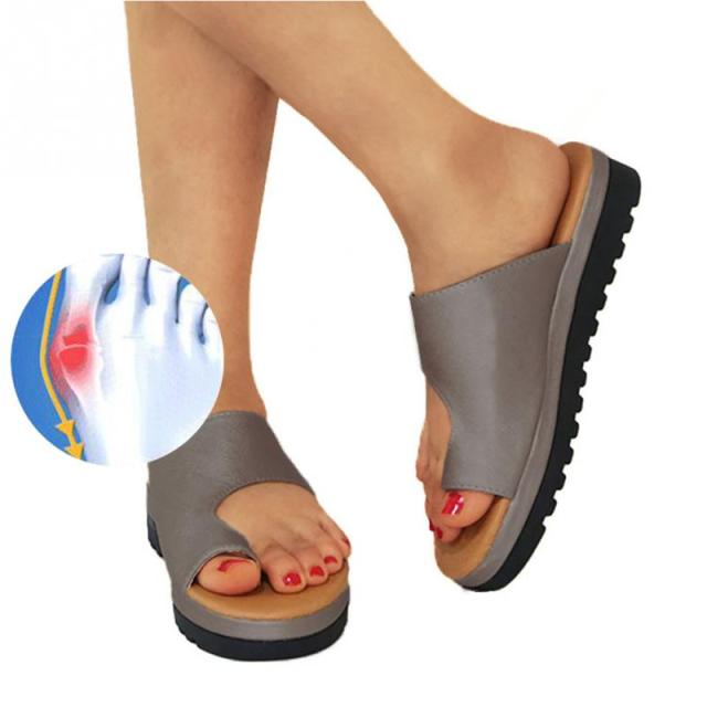 ebc14f0c11 Women PU Leather Shoes Comfy Platform Flat Sole Ladies Casual Soft Big Toe  Foot Correction Sandal Orthopedic Bunion Corrector