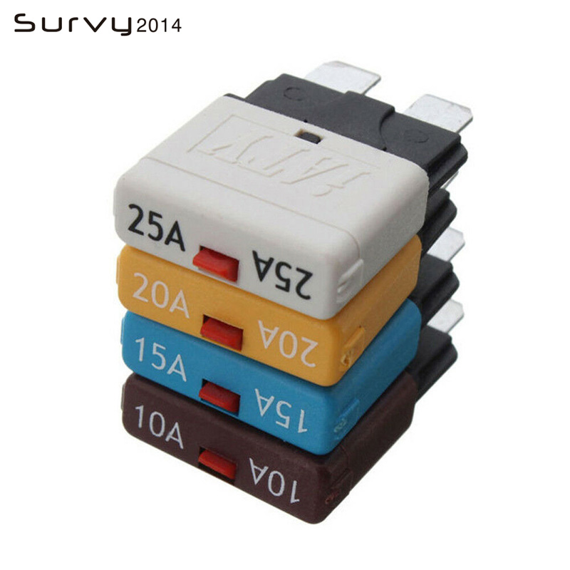Circuit Breaker Blade Fuse ATC Automatic/Manual Reset DC28V 10A 15A 20A 25A Resettable for RVs Boats Marine image