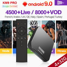IPTV France Italy Portugal Arabic IP TV KM9 Pro Android 9.0 BT USB3.0 Dual-Band WIFI Spain Canada Code