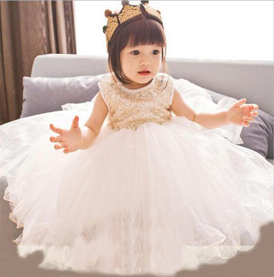ФОТО 2016 summer new baby girls party dress sequin tutu princess dress for girl suit 2-7T kids white roupas infantis menina