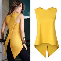 Newest Fashion Women Sleeveless Clothes Shirt Ladies Casual Summer Blouse Shirts Solid O-Neck Clothing
