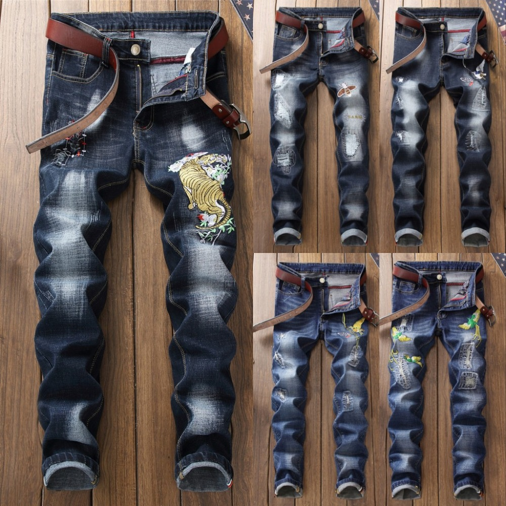 2018 New Fashion Mens Ripped Patches Jeans Slim Fit Embroidered Denim Pants Male Distressed Hip Hop Jean Trousers
