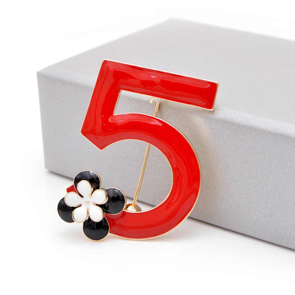 CINDY XIANG Rosso Dello Smalto di Colore Numero 5 Spille per Le Donne Cinque Lettera Spilla Spille Elegante Gioelleria raffinata e alla moda di Nuovo Disegno Buon Regalo