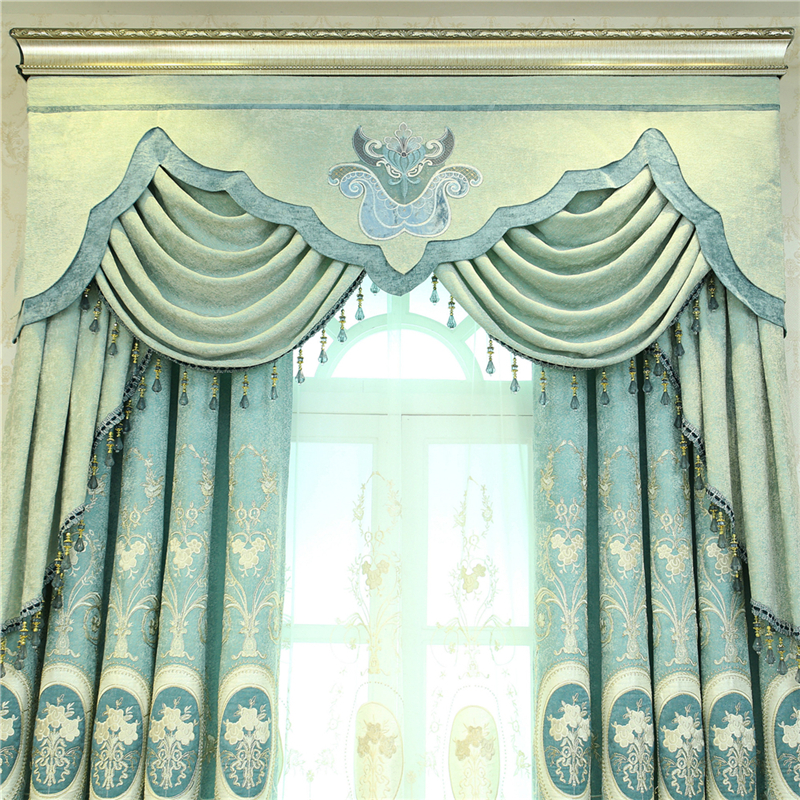 Custom Made Luxury European And American Style Blue Embroidery Blackout  Curtains For Living Room Classic Curtains For Bedroom In Curtains From Home  U0026 Garden ...