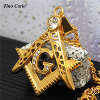 Solid 24k Gold Plated Iced Out Pendant G Initial Masonic Symbol Compass Free Mason Mens Necklace