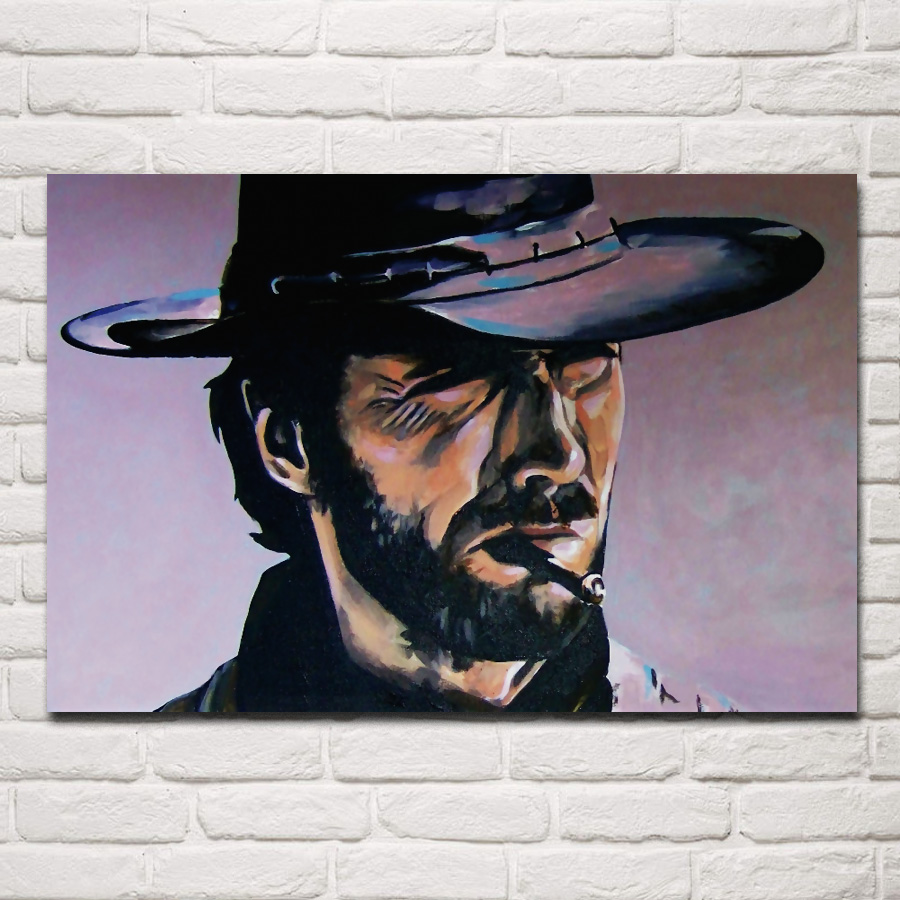 Clint Western Cowboy Style Portrait Living Room Home Wall Art Decor Wood Frame Fabric Posters EX026