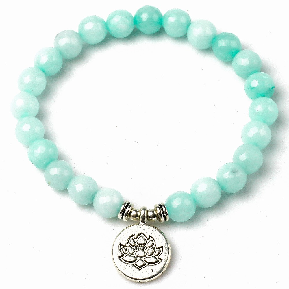 8mm Faced Natural Blue Stone Lotus Buddha Charm Bracelet High Quality Om Yoga Buddhist Bracelet Women Men Lover's Jewelry Excellent Quality