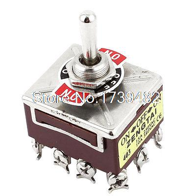 AC 250V 15A AC380V 10A 12 Terminal 3 Position ON/OFF/ON 4P2T Toggle Switch image