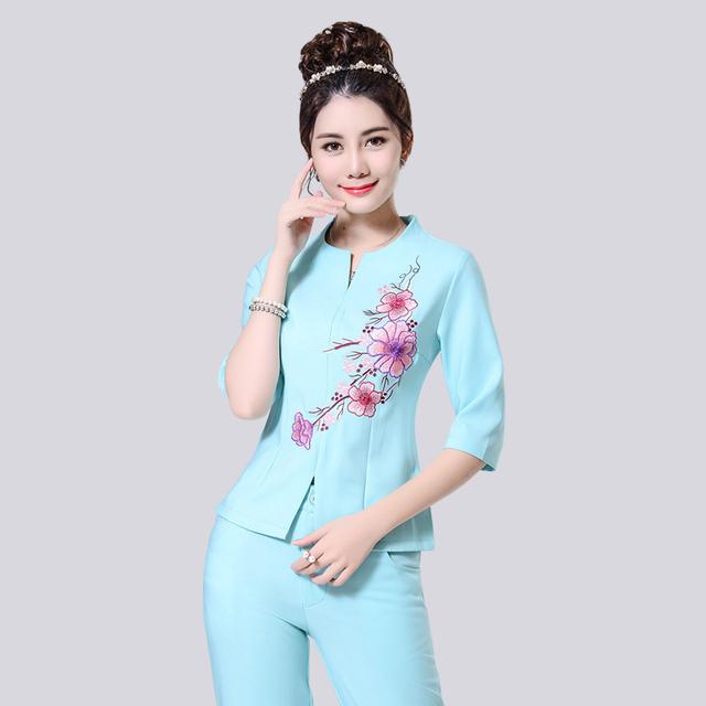 Conjuntos de Ternos de vestido Primavera Verão As Mulheres de Alta Qualidade Bordado Trabalho de Escritório OL Sólida Gola Redonda Magro Novo Pant Ternos