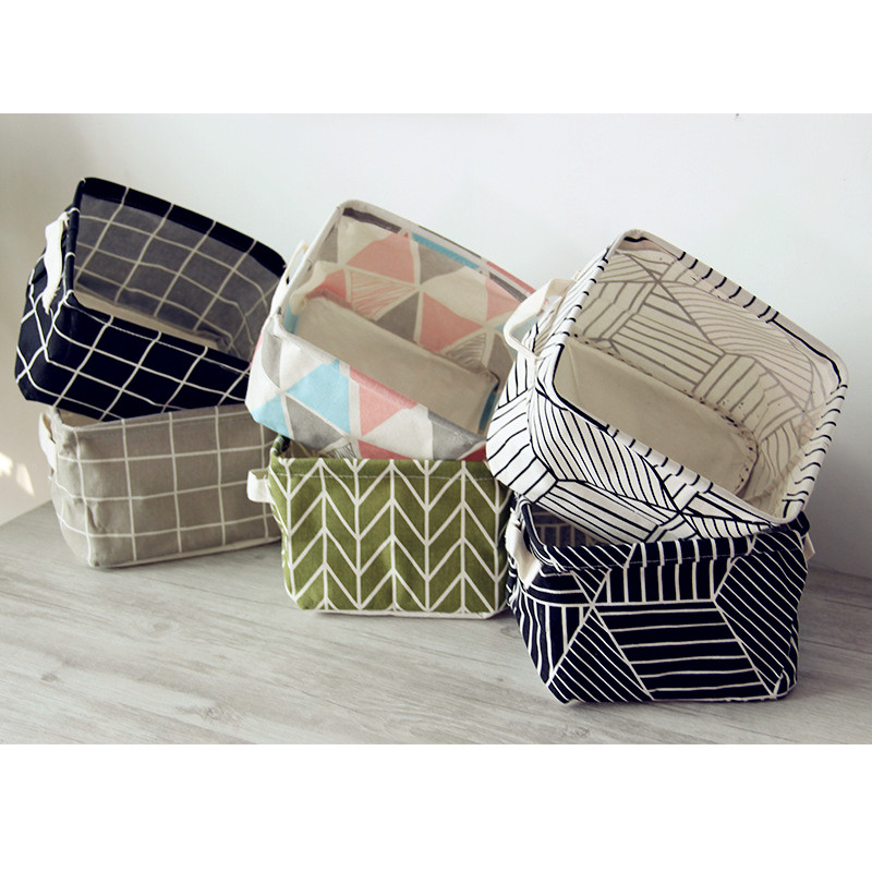 Fashion Nordic Style Brief Linen Desk Storage Box Holder Plaid Geometric Print Jewelry Cosmetic Stationery Organizer Case
