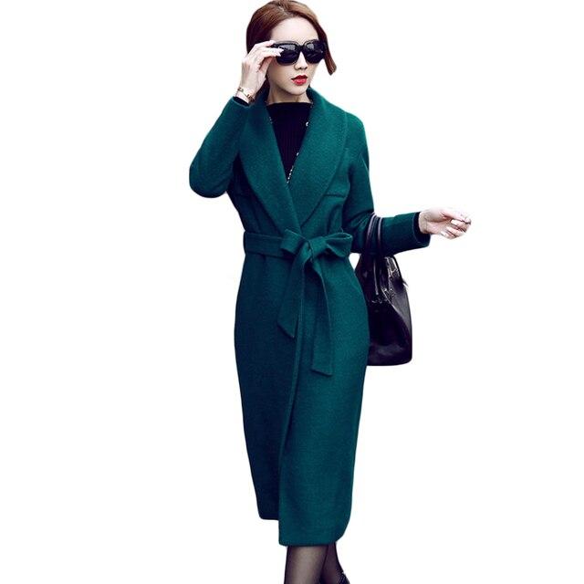 22bf47ee0 Women s Autumn Winter Turn Down Collar Wool Coat Medium Long Outerwear High  Fashion Dark Green Woolen Trench Coat Belted XH589