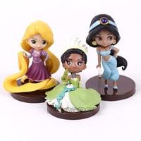 Cartoon Cute Q Posket Characters Princess Tangled Rapunzel Jasmine Tiana PVC Figures Toys Dolls 3pcs Set