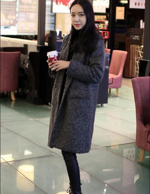 Mince 2016 Dark Laine Boutonnage Cocon Cachemire Hiver D141 Double Manteau D'agneau En Doublure Épaissir Chaud Gray Femme rUP4Bwqnr