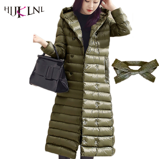 5e6c6dbca US $55.98 40% OFF|HIJKLNL 2017 New Women Long Down Jacket Silm Ultralight  Down Jackets hooded Down Parks For Women In Winter Coats With Belt LZ363-in  ...