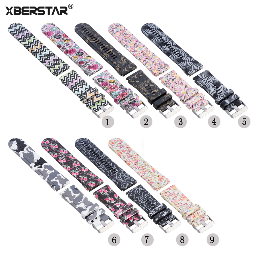 XBERSTAR Printed Quick Release Strap for Garmin Finex 5 Forerunner 935 Approach S60 Gold Replacement Watchband for fenix5 fenix hl23 gold