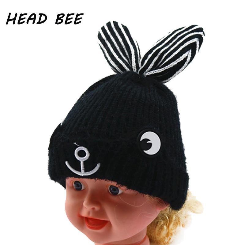 [HEAD BEE] Fashion Beanies Hat Kid Winter Cap Cotton Lovely Cartoon Ear 2017 Bonnet Knitted Hat Skullies for Boy and Girl skullies 2017 fashion new arrival indian yoga turban hat ear cap sleeve head cap hat men and women multicolor fold 1866688
