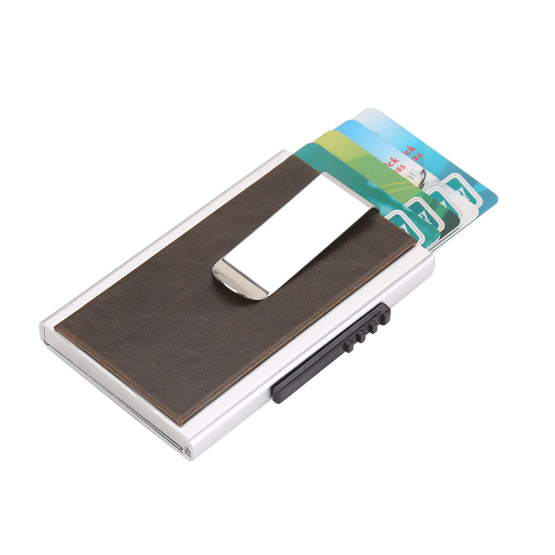 Metal Travel Card Wallet Automatic Pu Bank Card Case Click Slide Holder Stainless Steel Bank Card Cover slide wallet