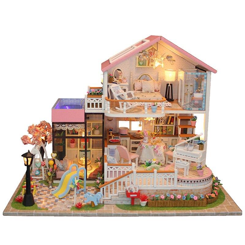 Maison de poupée à la main meubles jouet 3D bricolage maison de poupée assembler des Kits miniatures maisons de poupée jouets en bois pour enfants cadeaux de croissance