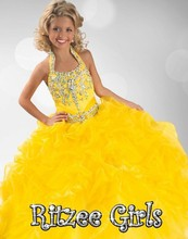 2016 Yellow Halter Rhinestones Ruffled Fitted Bodice Ritzee Girls Pageant Dresses Ball Gown Princess Dresses Long Toddler Dress