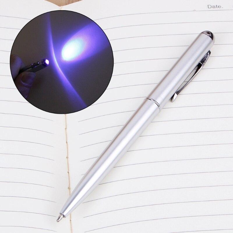 Kreative Magie LED UV Licht Kugelschreiber Stift Mit Unsichtbarer Tinte Geheimnis Spy Pen Nov-26